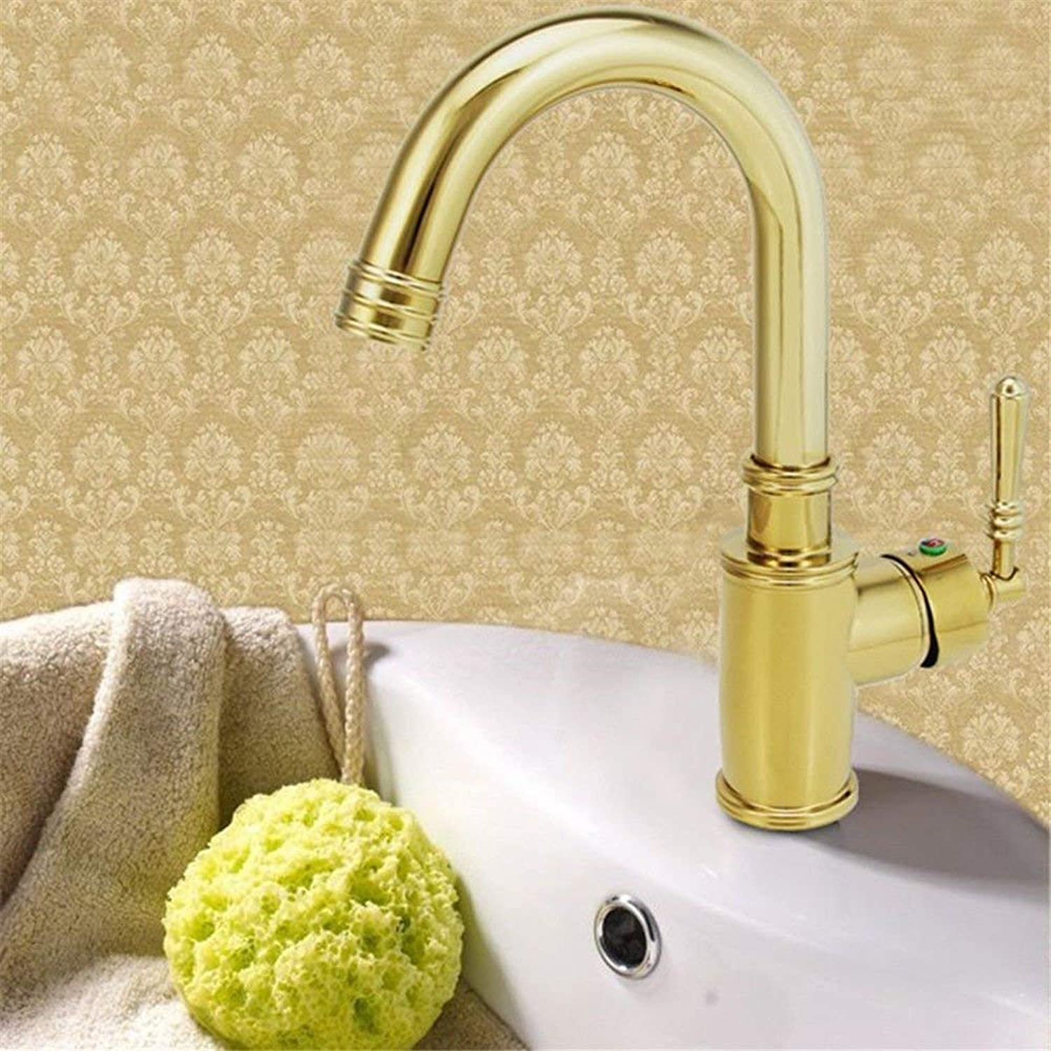 Oudan Kitchen tap hot and cold sink mixer sink faucet swivel spout gold kitchen sink tap (color   -, Size   -)
