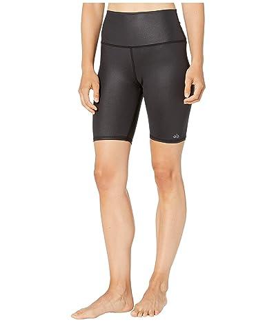 ALO High-Waisted Biker Shorts (Black Glossy) Women