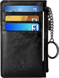 Slim Minimalist Wallet RFID Front Pocket Credit Card Holder for men women Leather Wallet with Key Ring