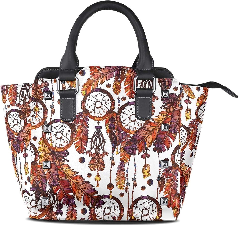 My Little Nest Women's Top Handle Satchel Handbag Tribal Feathers and Dreamcatcher Ladies PU Leather Shoulder Bag Crossbody Bag