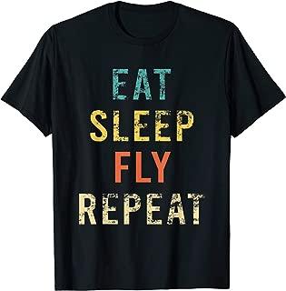 Retro Eat Sleep Fly Repeat Pilot Aviation Crew Air Hostess T-Shirt