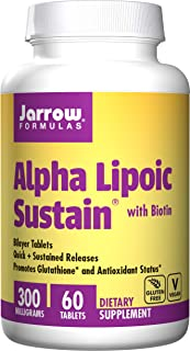 Jarrow Formulas, Alpha Lipoic Sustain, with Biotin, 300 mg, 60 Tablets