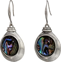 Abalone and Silver Disc Drop Earrings