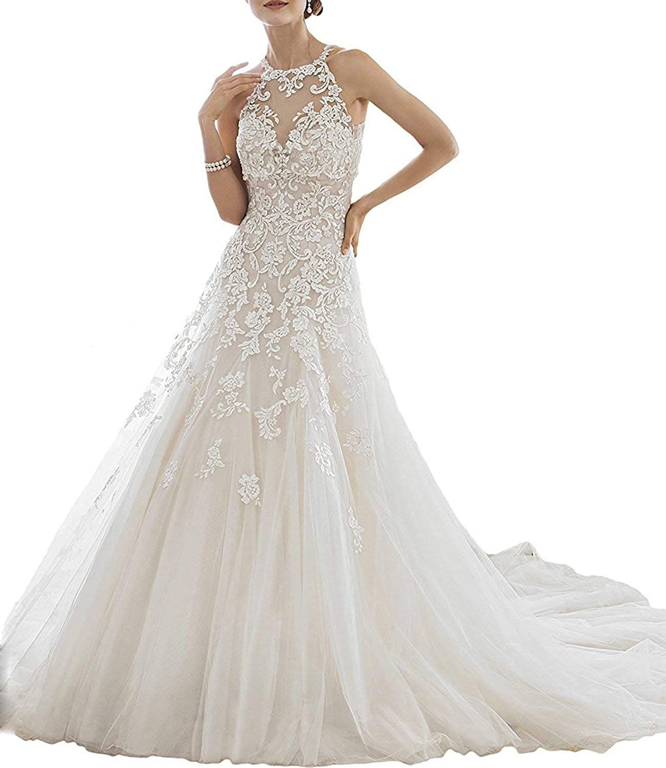 Yilian Appliques Lace Mermaid Wedding Dresses for Bride with Jacket