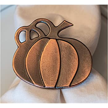 Thanksgiving Napkin Ring with Glitter Pumpkin and Fall Leaves Set of 4
