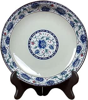 Daking-Store Retro Chinese Tableware Blue and White Porcelain Dinner Plate Ceramics Fruit Cake Dish Restaurant Dinnerware Kitchen Accessories,7incn Plate(D17.5cm)