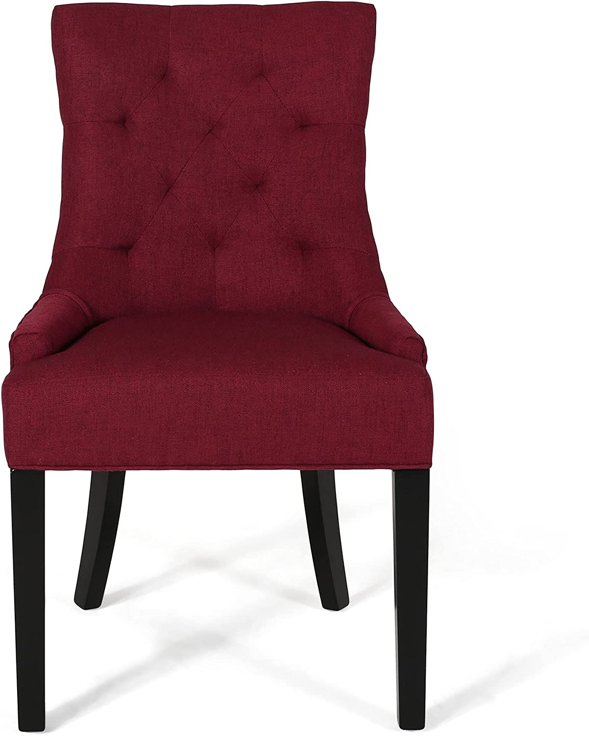 Christopher Knight Home Cheney Dining Chair, Deep Red + Dark Brown