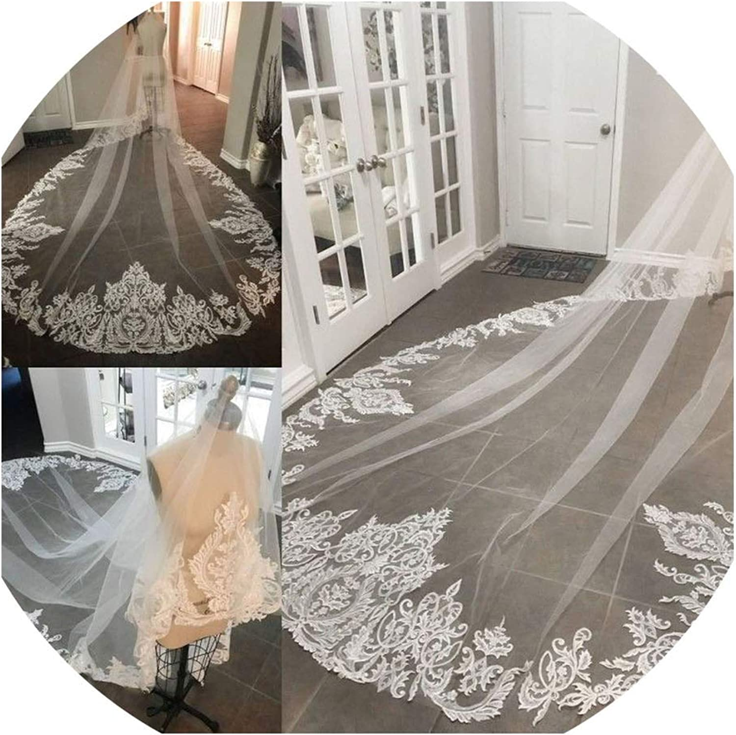 Cathedral Wedding Veils Lace Edge Appliqued OneLayer Bridal Veils Shoulder Length Bridal Veil,White,300cm