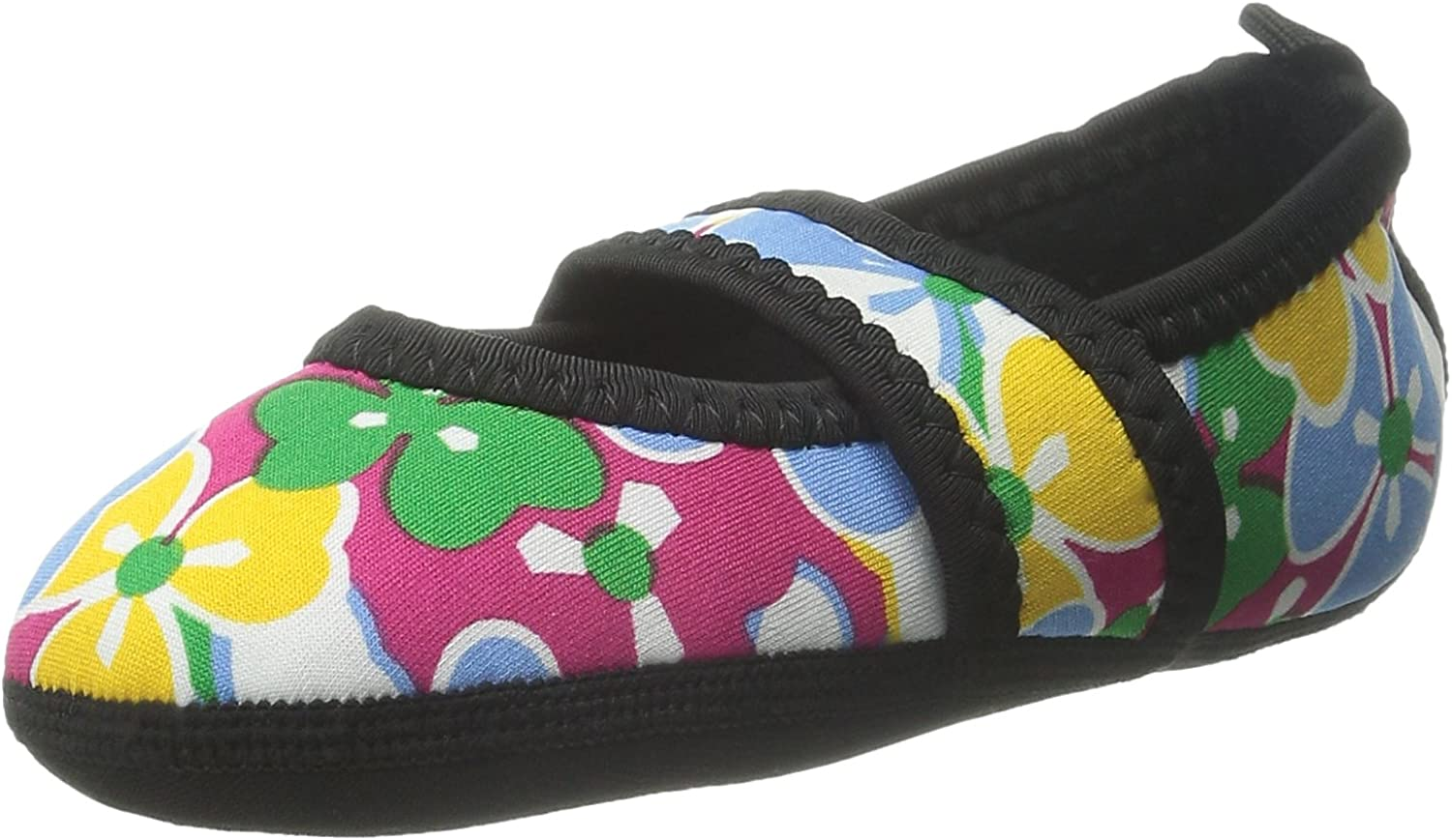 Nufoot Indoor Girls shoes Besty Lou, Pink Flowers, X-Small 2 Count