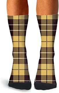 Mens athletic low cut Ankle sock Cool Brown British Plaid Checkerboard Non-Slip Casual Short Sock
