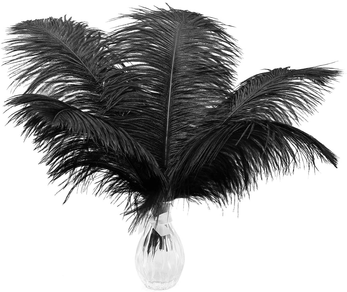 24pcs Natural Black Ostrich Feathers El Paso Mall Wed 10-12inch Max 72% OFF for 25-30cm