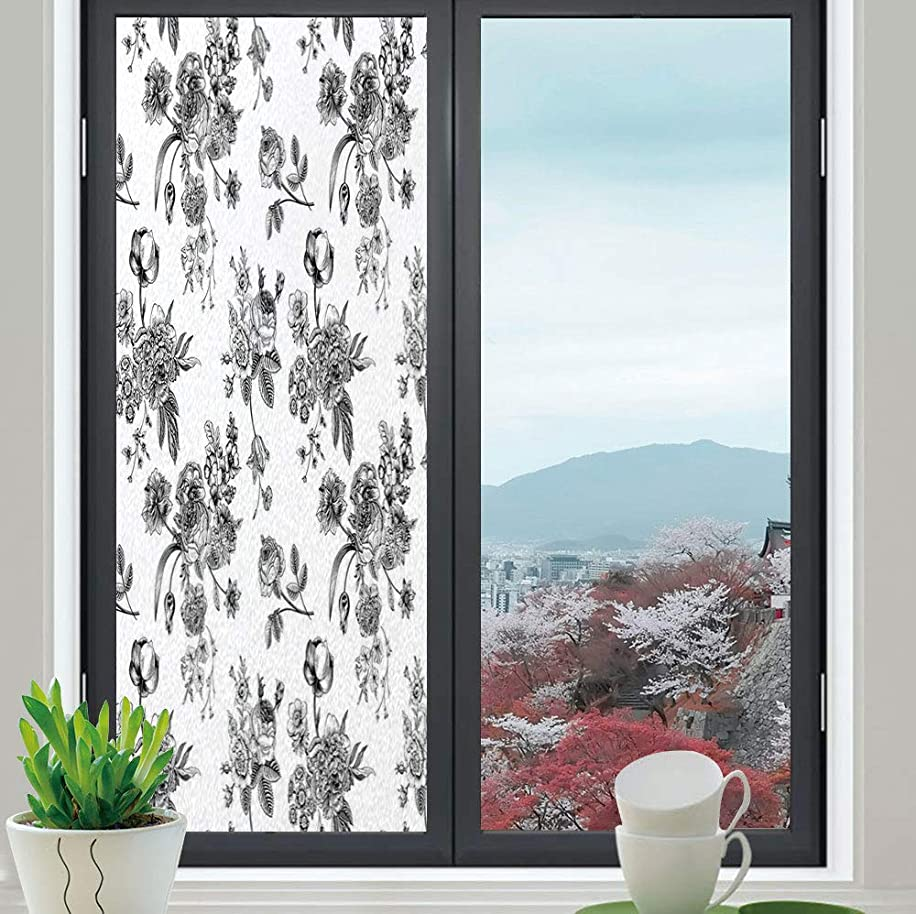 YOLIYANA Privacy Window Film Decorative,Black and White,for Glass Non-Adhesive,Vintage Floral Pattern Victorian Classic Royal Inspired New,24''x70''