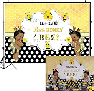 Mehofoto Bee Gender Reveal Backdrop What Will Little Honey Bee Photography Background 7x5ft Vinyl Bees Baby Gender Reveal Party Banner Backdrops
