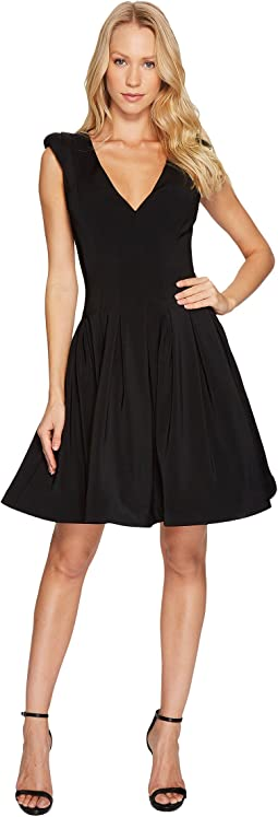 Halston Heritage - Cap Sleeve V-Neck Fit & Flare Dress