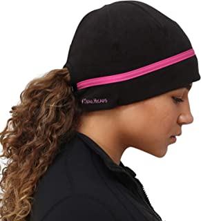 TrailHeads Women's Ponytail Hat | Reflective Cold Weather Running Beanie | Made in USA