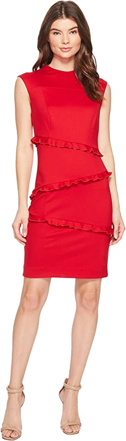 Nicole Miller - Ponte Sleeveless Ruffle Dress
