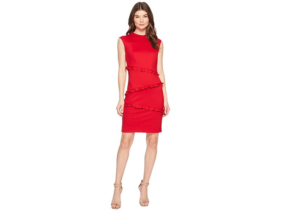 Nicole Miller Ponte Sleeveless Ruffle Dress (Lipstick Red) Women