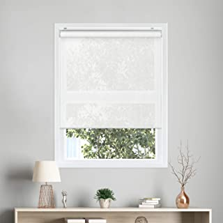 "CHICOLOGY Cordless Roller Shades Snap-N`-Glide Sun Filtering Fabric Perfect for Living Room/Bedroom/Nursery/Office and More, 23"" W X 72"" H, 4.View-Tiful White (Solar)"