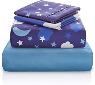 "Chital Unisex Twin Bed Sheets | 4 Pc Gender Neutral Kids Bedding Set | Starry Night Sky Print | 1 Flat & 1 Fitted Sheet, 2 Pillow Cases | Durable Super-Soft, Double-Brushed Microfiber | 15"" Deep"