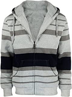Gary Com Fashion Stripe Sherpa Fleece Lined Hoodies for Men Zip Up Big and Tall Zipper Cool Fishing Sweatshirt