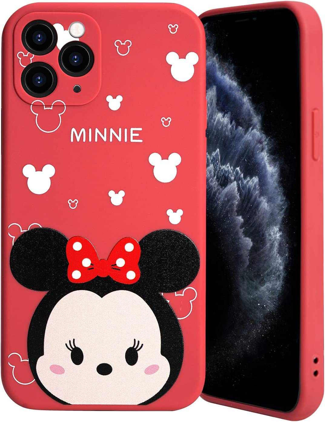 Minnie Character Compatible with iPhone 11 Pro Case, Flexible Rubber Silicone Case Anti-Scratch Slim Design with Bumper Anti-Drop, Street Fashion Minnie Fully Protective Case Cover for iPhone 11 Pro