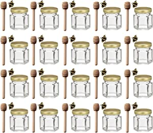 Adabocute 1.5 oz 20 pack Hexagon Mini Glass Honey Jars with Wood Dipper, Gold Lid, Bee Pendants - Perfect for Baby Shower, Wedding Favors, Party Favors