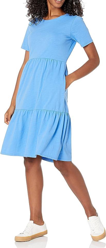 Women's Short-Sleeve Crewneck Tiered Dress