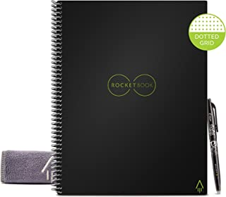 Rocketbook Smart Reusable Notebook - Dotted Grid Eco-Friendly Notebook with 1 Pilot Frixion Pen & 1 Microfiber Cloth Included - Infinity Black Cover, Letter Size (8.5