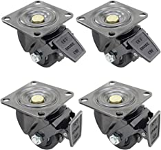Dr.Luck 2.5 Inch Black Top Plate Swivel with B2 Nylon Brake & 50mm Width Nylon Wheel Heavy Duty Double Ball Bearing Caster Total Load Capacity 4400 Lbs Set of 4