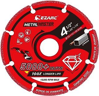 EZARC Diamond Cutting Wheel for Metal, Cut Off Wheel with 5000+ Cuts on Rebar, Steel, Iron and Inox, 4-1/2 x 7/8 Inch