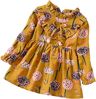 Charberry Baby Winter Dandelion Flower Print Dress Toddler Girls Long Sleeve Outfits Clothes