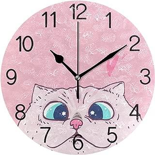 Chovy 掛け時計 置き時計 北欧 おしゃれ かわいい サイレント 連続秒針 壁掛け時計 インテリア おもしろ ねこ 猫柄 ハート ピンク かわいい 部屋装飾 子供部屋 プレゼント