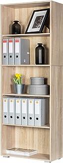 Deuba Estantería libreria Biblioteca Vela Roble 5 estantes 190 cm Mueble de almacenaje Oficina Dormitorio salón casa