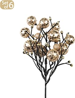 KI Store Christmas Berry Picks Decorations Artificial Glittered Berries Stems Crafts Tree Decoration Ornaments for Xmas Tree Wedding Centerpiece Pack of 6 (Champagne)