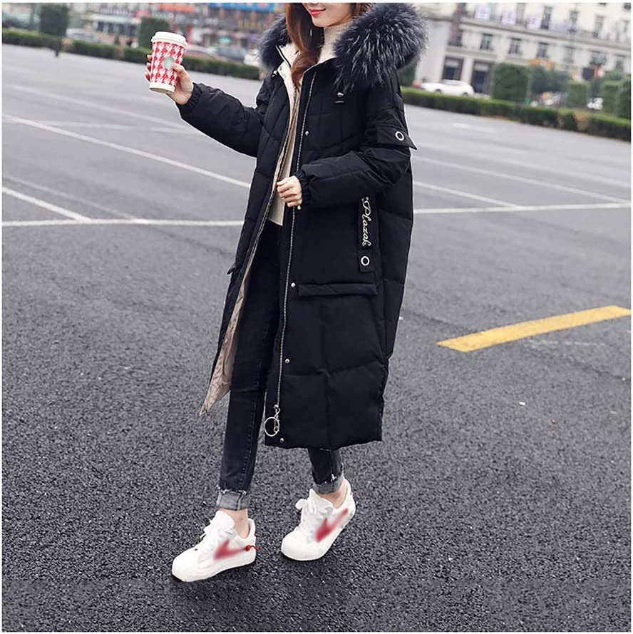 Women's Long Down Jacket Quilted Jacket Packable Padded Outerwear with Faux Fur Hooded Winter Coat (Color : Black, Size : XX-Large)