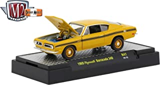 M2 Machines 1969 Plymouth Barracuda 340 (Bahama Yellow) - Detroit Muscle Release 47 Castline 2019 Premium Edition 1:64 Scale Die-Cast Vehicle & Custom Display Base (R47 19-15)