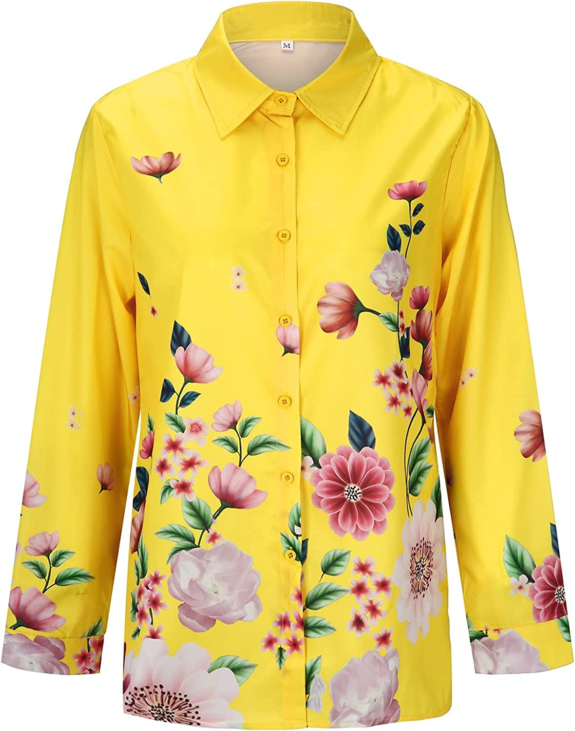 Hawaiian Shirts for Women Floral Mesa Mall Long-S Button Print Down Credence Lapel