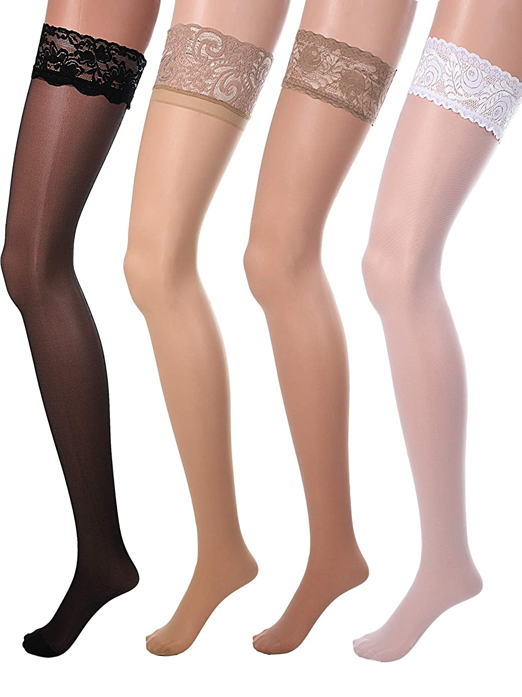 4 Pairs Women Fishnet Stockings Black Sheer Lace Thigh High Stockings High Waist Tights