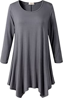 105175d55617c LARACE Women Plus Size 3 4 Sleeve Tunic Tops Loose Basic Shirt