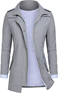 Rain Jackets Women Lightweight Raincoat Striped Lined Waterproof Windbreaker Active Outdoor Hooded Trench Coats