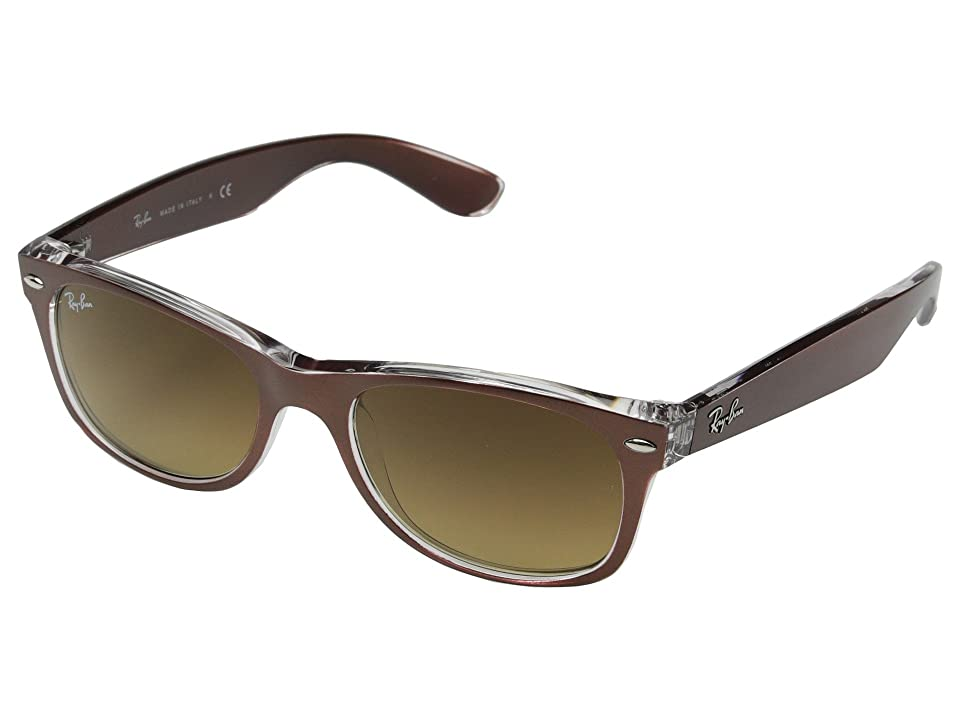 Ray-Ban RB2132 New Wayfarer 52mm (Top Brushed Brown/Transparent) Sport Sunglasses