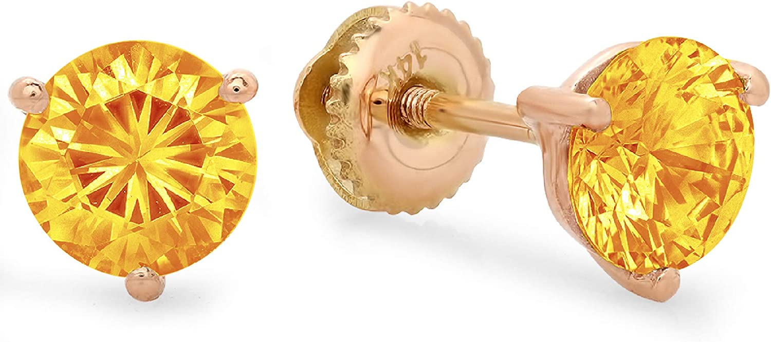 Clara Pucci 2.1 ct Brilliant Round Cut Solitaire VVS1 Fine Natural Yellow Citrine Gemstone Pair of 3 prong Stud Martini Earrings Solid 18K Rose Gold Screw Back