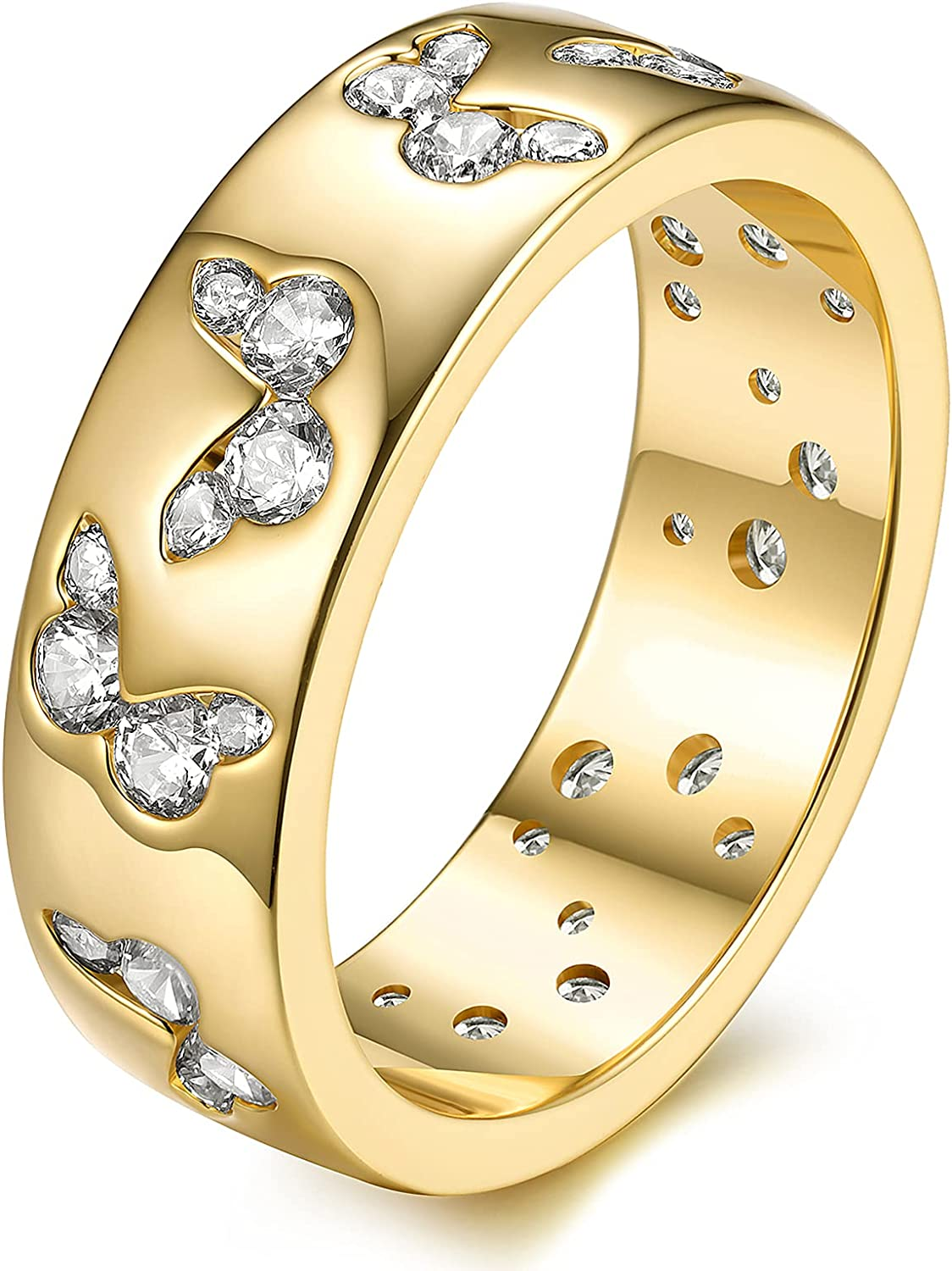 JINEAR 6mm Cubic Zirconia Butterfly Rings Wedding Bands for Women and Men 14K Gold Plated Statement Stackable Ring Gift for Her Size 5 to 10