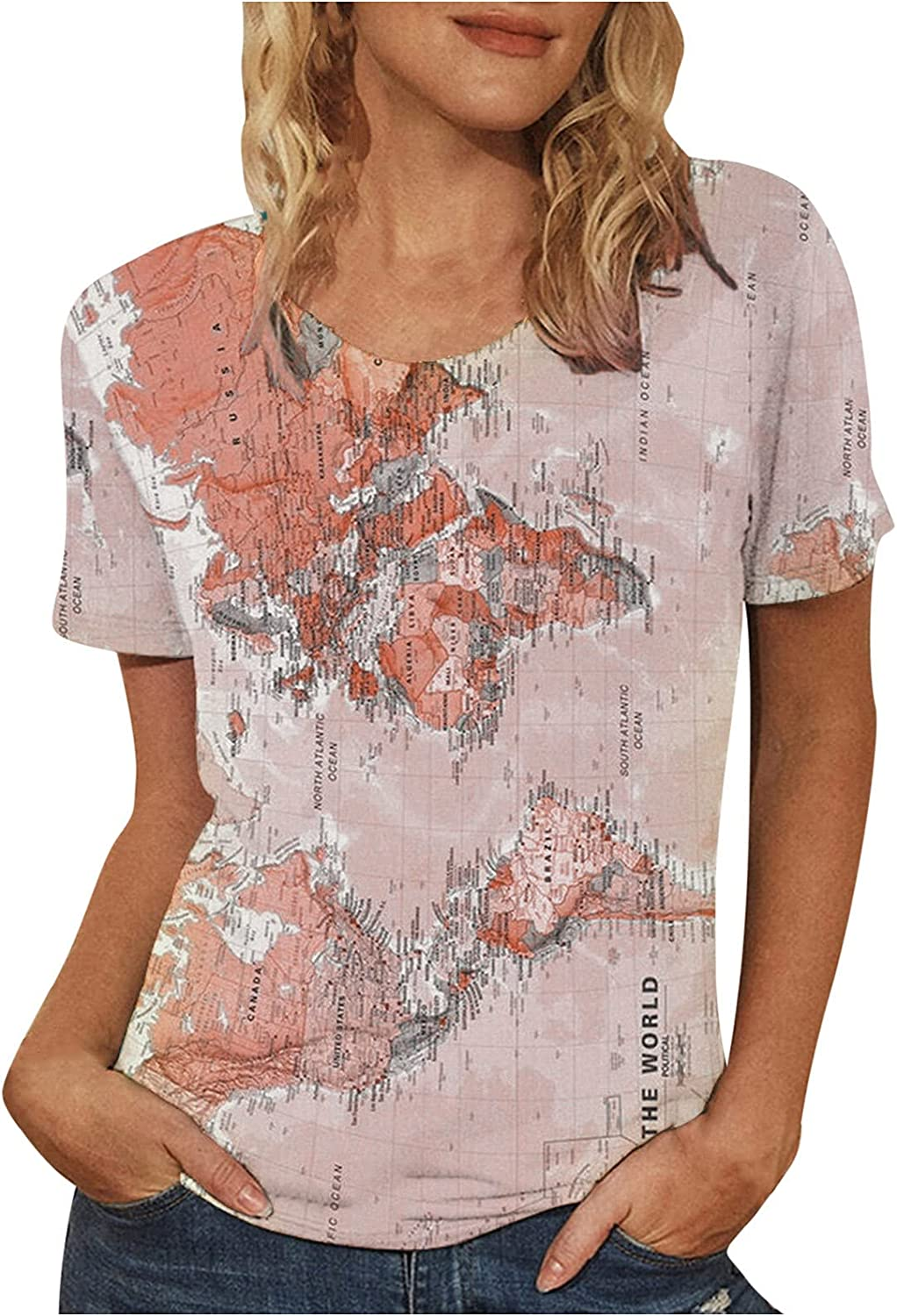 Oxodoi Women 3D Graphic T-Shirt World Map Print Tee Shirt Loose Summer Casual V-Neck Short Sleeve Funny Tops Blouse