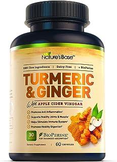 Turmeric Curcumin with Ginger & Apple Cider Vinegar, BioPerine Black Pepper, 95% Curcuminoids, Natural Joint & Healthly In...