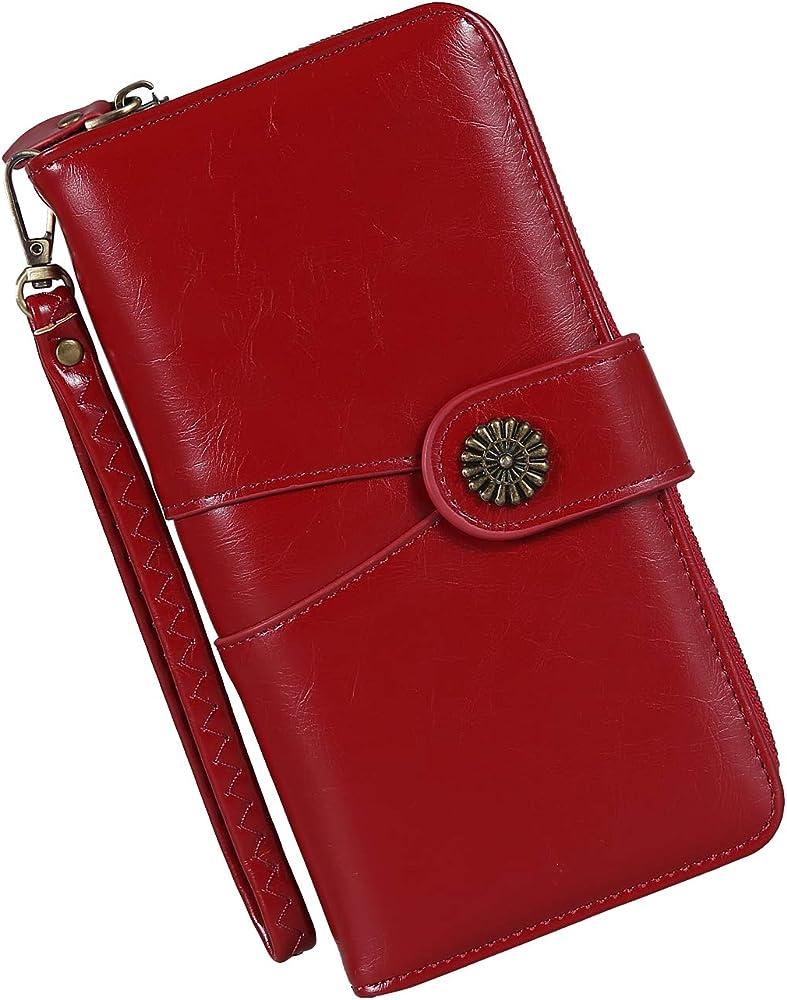 Y yongyuan portafoglio porta carte di credito per donna in ecopelle rossa 3