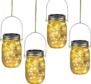 Solar Mason Jar Lights Hanging Lights (Mason Jar & Hanger Included), 4 Pack 30 Led Starry Fairy String Hanging Jar Lights for Outdoor Patio Party Wedding Decor Lights, Warm White