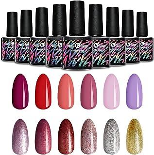K Kouboline Gel Nail Polish Kit 12 Colors x 10ml Glossy & Glitter Nude Red Pastel Nail Polish Set Soak Off UV LED for Nail...