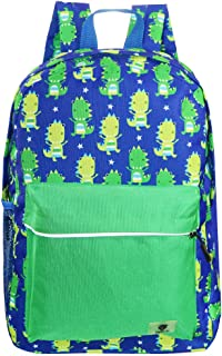Backpacks for Little Girls, Boys, Kids by Fenrici, 16 Inch Book Bags with Water Bottle Pocket for Preschooler, Kindergartener, Support a Great Cause, Green Dinosaur (Green) - 689349451416