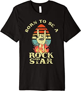 Born To Be Rock Star Heavy Metal Hand Horns Vintage Retro Premium T-Shirt